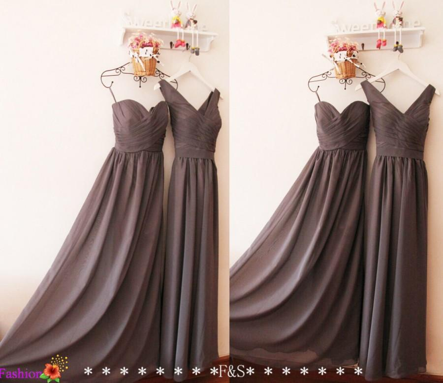 Charcoal gray bridesmaid dress custom grey v neck modest for V neck strapless wedding dress