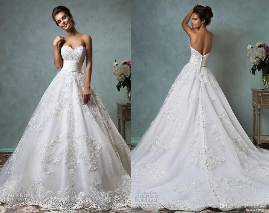 زفاف - 2016 New Amelia Sposa Lace Wedding Dresses Sweetheart Strapless Tulle Applique Bridal Gowns 2015 Wedding Dress Chapel Train Online with $116.92/Piece on Hjklp88's Store