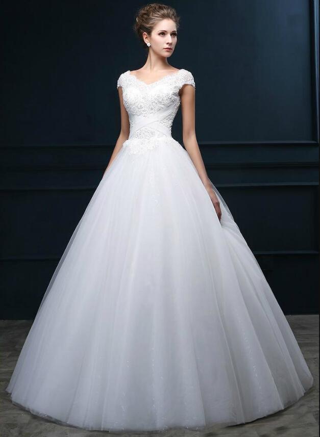 New Arrival V Neck Cap Sleeve Wedding Dresses Sequins Tulle Applique A Line Bridal Gown 2015