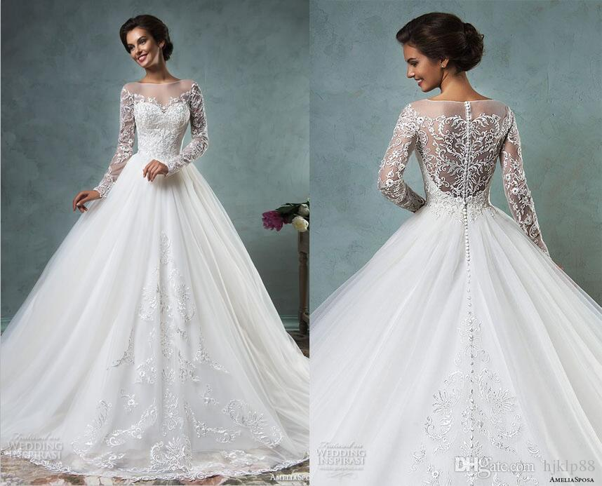 Bridal Gowns Online Best Ing 2016 New Amelia Sposa Wedding Dresses Tulle Lique A Line Covered On Long Sleeve Dress Lace Gown