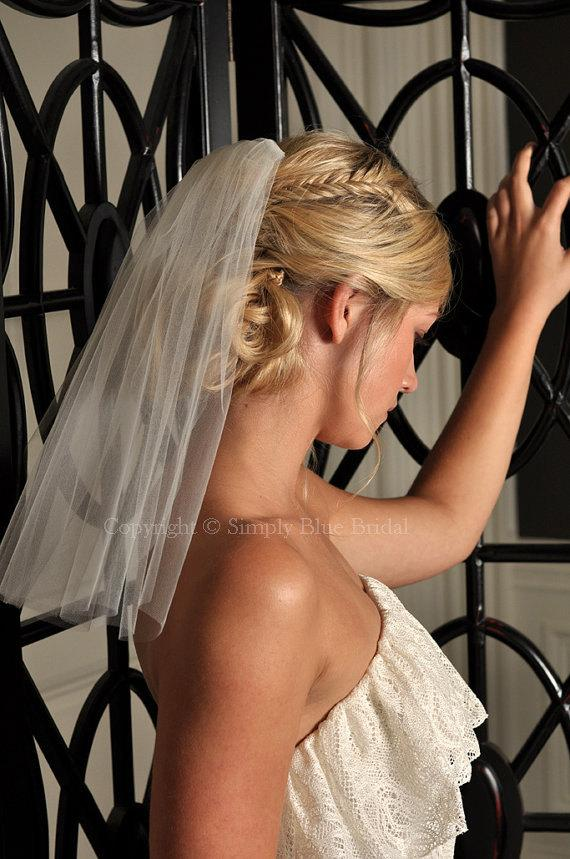 Wedding - Short Veil - Shoulder Veil, IVORY Bridal Veil - Raw Edge Veil - READY to SHIP