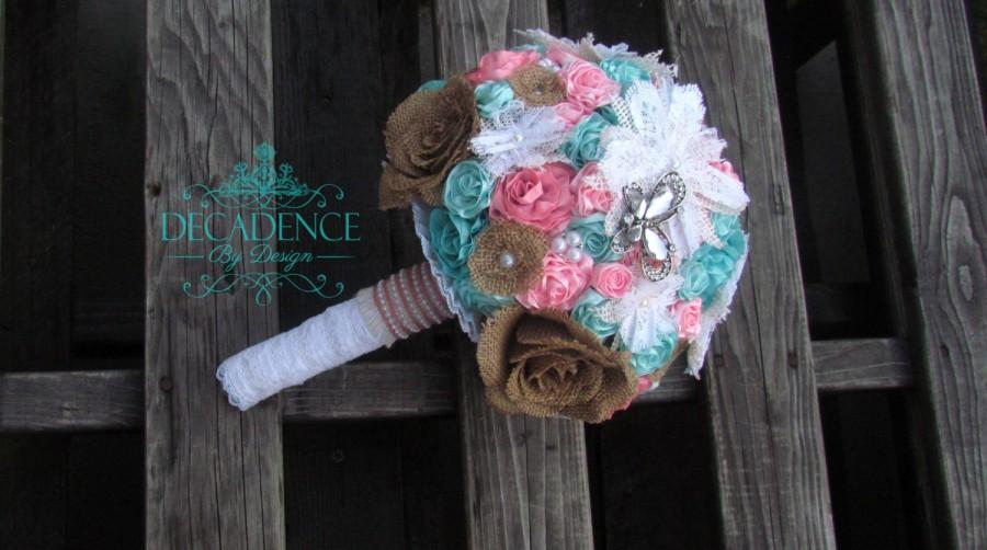 Mariage - Burlap and Ribbon Rose Bouquet, Burlap Bouqet, Shabby Chic Bouquet, Bridal Bouquet, Pink and Teal Bouquet, Pink and Turquoise Bouquet