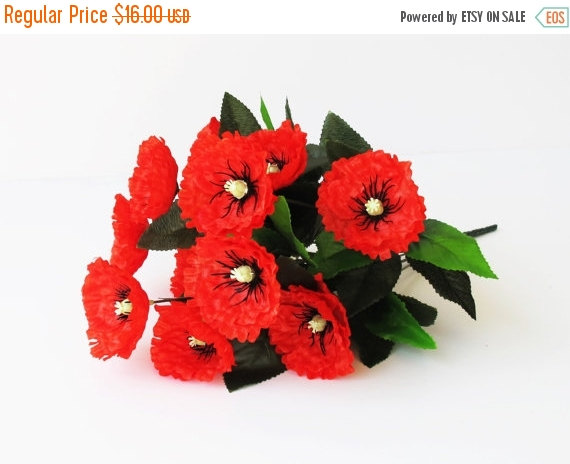 On sale 12 red poppies artificial silk poppy anemones bouquet 16 on sale 12 red poppies artificial silk poppy anemones bouquet 16 branch bush flowers wedding bouquets decoration decor leaves accessory flo mightylinksfo