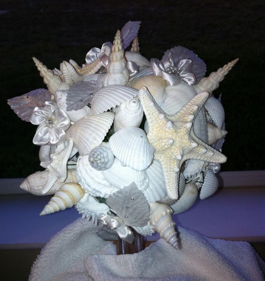 Wedding - All White Beach Wedding Seashell Bouquet Bride Bridesmaids Beach Sea Shell
