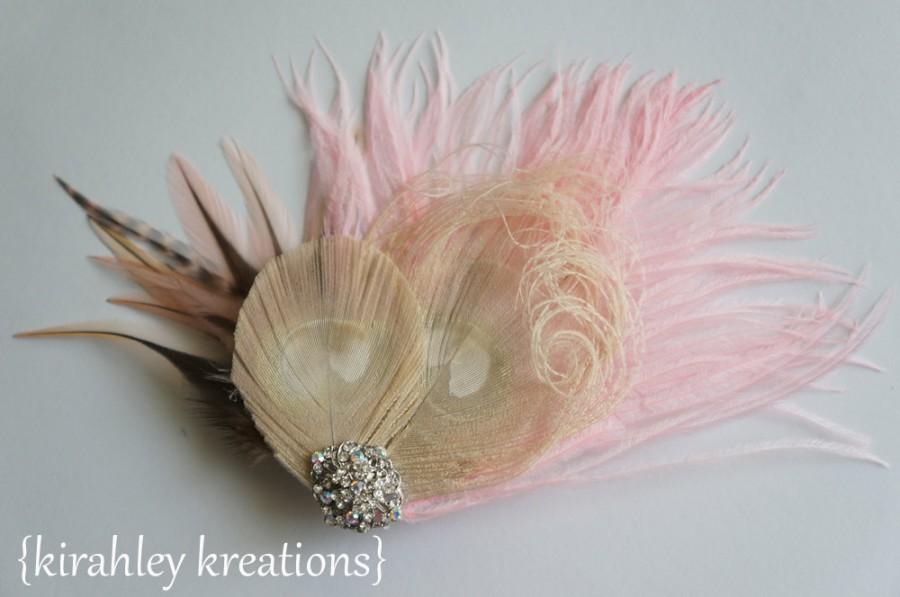 Mariage - PINK CHAMPAGNE -- Ivory Champagne Peacock Feather Wedding Bridal Bride Bridesmaid Victorian Fascinator Hair Clip Iridescent Rhinestones
