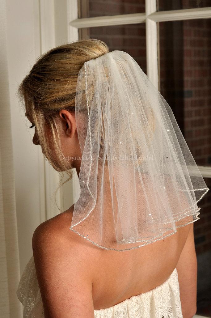 Wedding - Veil with Beaded Edge and Scattered Swarovski Crystals - Short Veil - Shoulder Length Veil