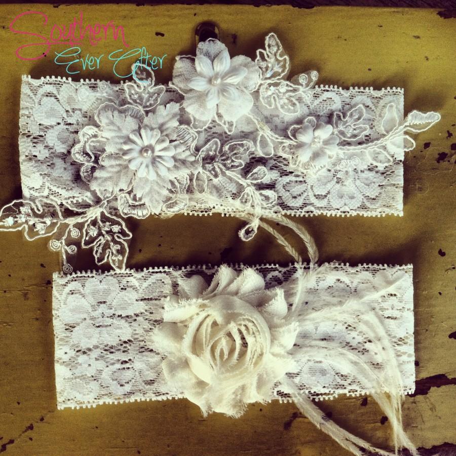 The Clara Lace Garter Set Bridal Toss Something Blue Wedding Vintage Shabby Chic