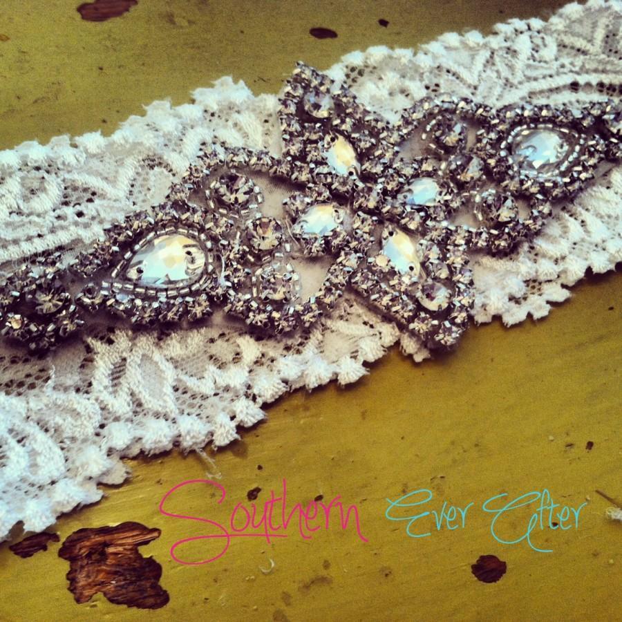 Mariage - Vintage Inspired Rhinestone Wedding garter / bridal garter/ lace garter / toss garter / Something Blue wedding garter / Shabby Chic