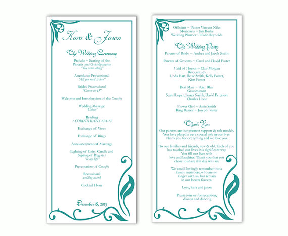 wedding program template diy editable text word file download