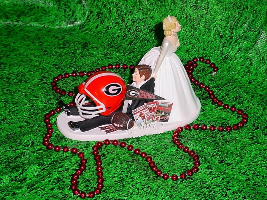 Mariage - Georgia Bulldogs College Football University Fun Wedding Cake Topper Groom Funny Wedings Mr Loves Mrs Sports Fan Humerous Decorations -2