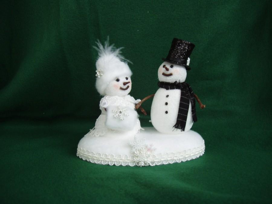 Mariage - Snowman and Snow Woman Winter Weddiing Cake Topper