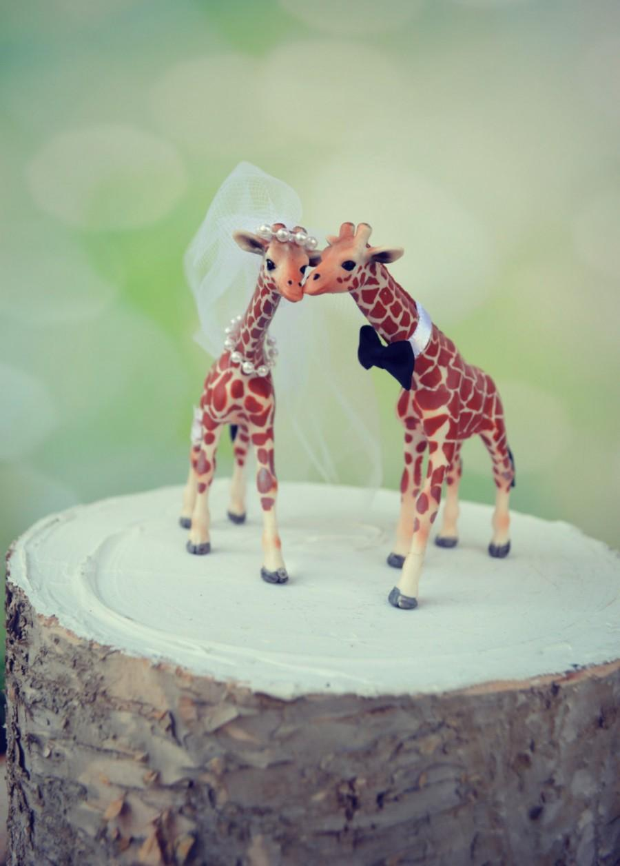 Giraffe Woodlands Wedding Cake Topper Just Married Bride And Groom Custom Jungle Zoo Safari