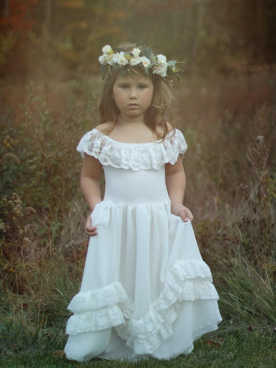 151759feb8b3 Rustic Lace Flower Girl Dress