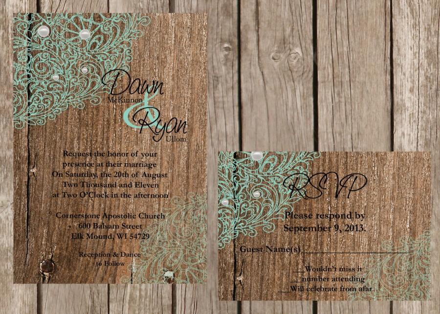 Mariage - DIY Wedding Invitation, DIY Rustic Lace Wedding Invitation, Lace and Wood Wedding Invitation, Custom