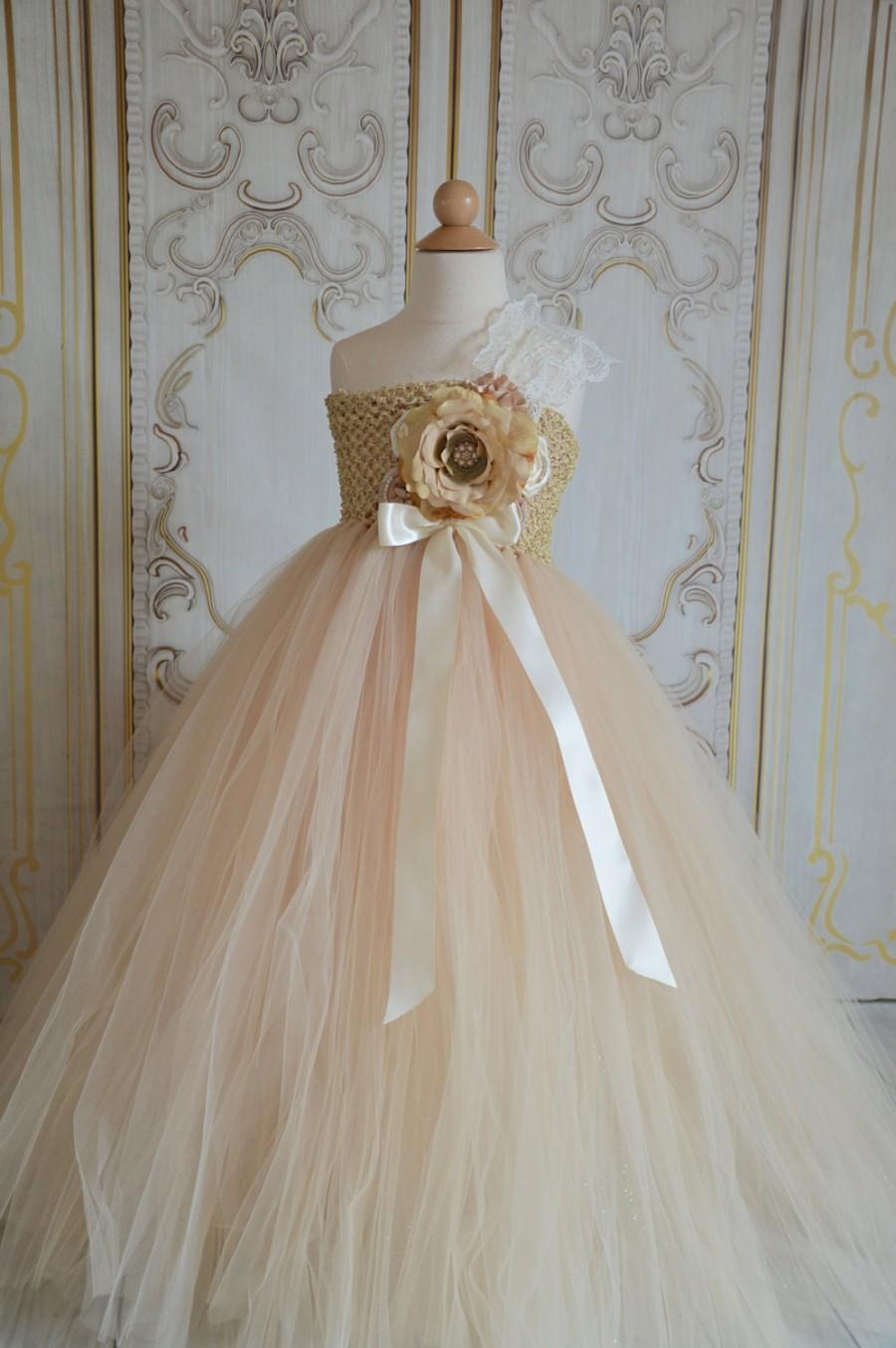 Hochzeit - VIntage Champagne Flower girl tutu dress