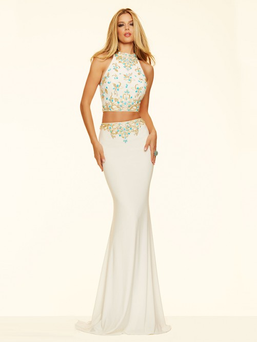 Wedding - Sheath/Column High Neck Jersey Train Two Piece Prom Dress with Beading