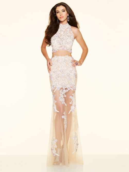 Wedding - Sheath/Column Net High Neck Long Prom Dress with Beading