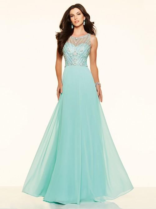 Wedding - A-Line/Princess Bateau Chiffon Floor-Length Prom Dress with Beading
