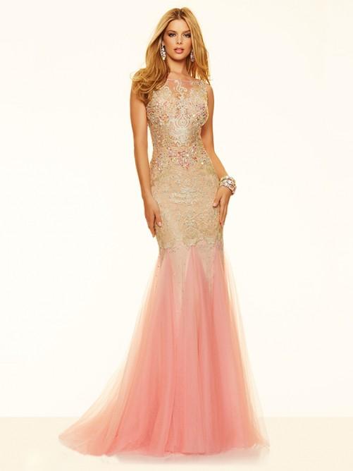 Wedding - Trumpet/Mermaid Scoop Sweep/Brush Train Net Prom Dress with Beading
