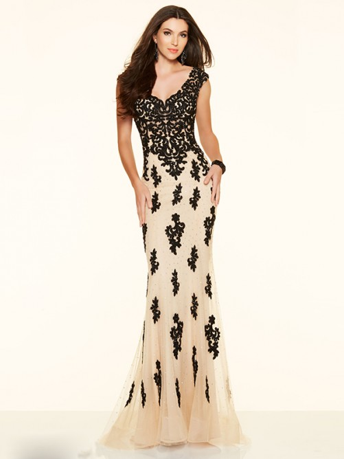 Wedding - Trumpet/Mermaid V-neck Sweep/Brush Net Prom Dress with Lace