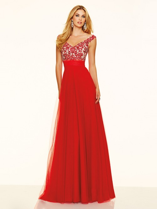 Wedding - A-Line/Princess V-neck Tulle Floor-Length Prom Dress with Beading