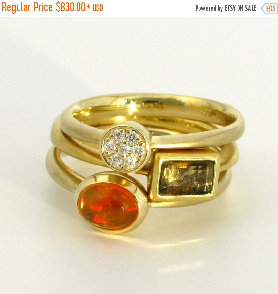 Mariage - Christmas SALE STAX 18k gold stacking and wedding rings with diamond pave, tourmaline, fire opal, one-of-a-kind
