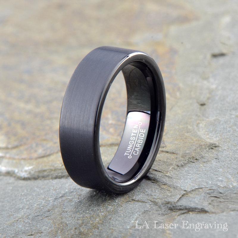 wedding black brushed tungsten wedding band 7mm mens tungsten ring