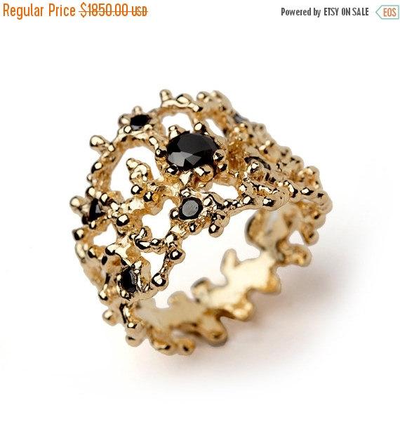 Wedding - Cyber Monday SALE - CORAL Black Diamond Ring, 14k Yellow Gold with Black Diamond Band, Wide Gold Ring, Black Diamond Wedding Band, Unique We