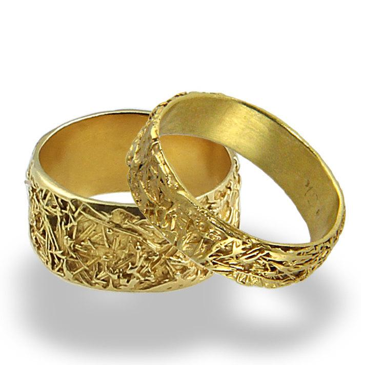 Wires Weddings Band Set Wedding Rings Women Mens Yellow Gold Solid Ring For Him Her Wide