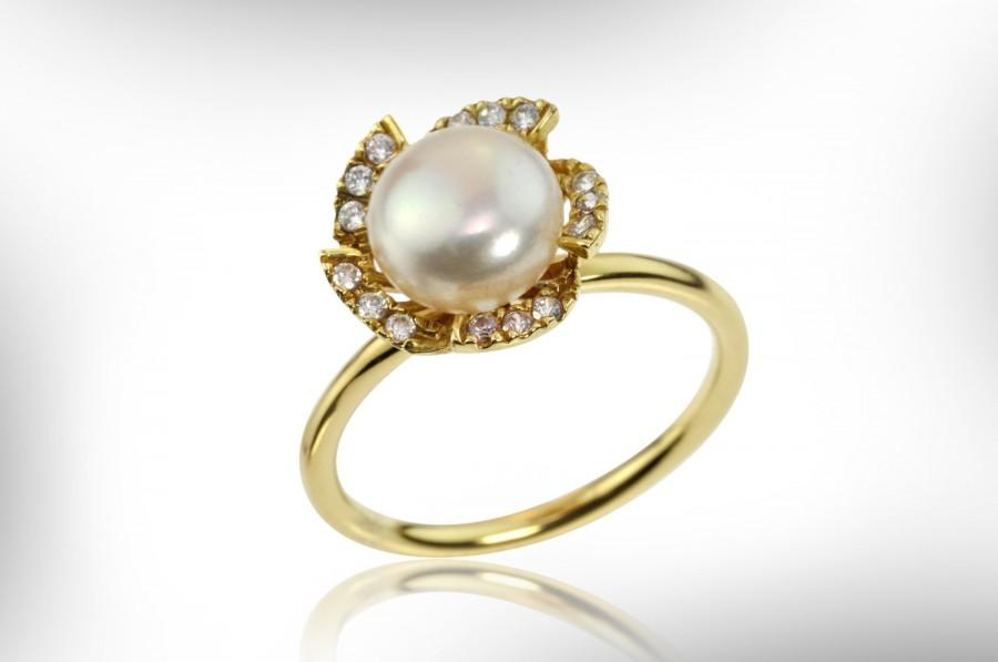 Pearl And Diamond Engagement Ring 14k Gold Engagement Ring Bride
