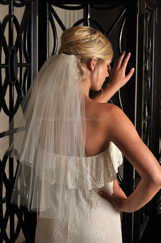 Wedding - Wedding Veil - Two Tier Elbow Length Veil with Scattered Swarovski Pearls - White, Diamond White, Ivory