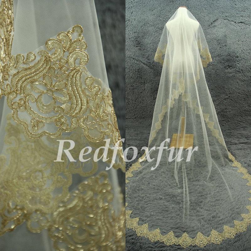 زفاف - Gold edges veil 1 tier Cathedral Veil Alencon lace veil Ivory Bridal Veil Lace edge veil Wedding dress veil Wedding Accessories No comb