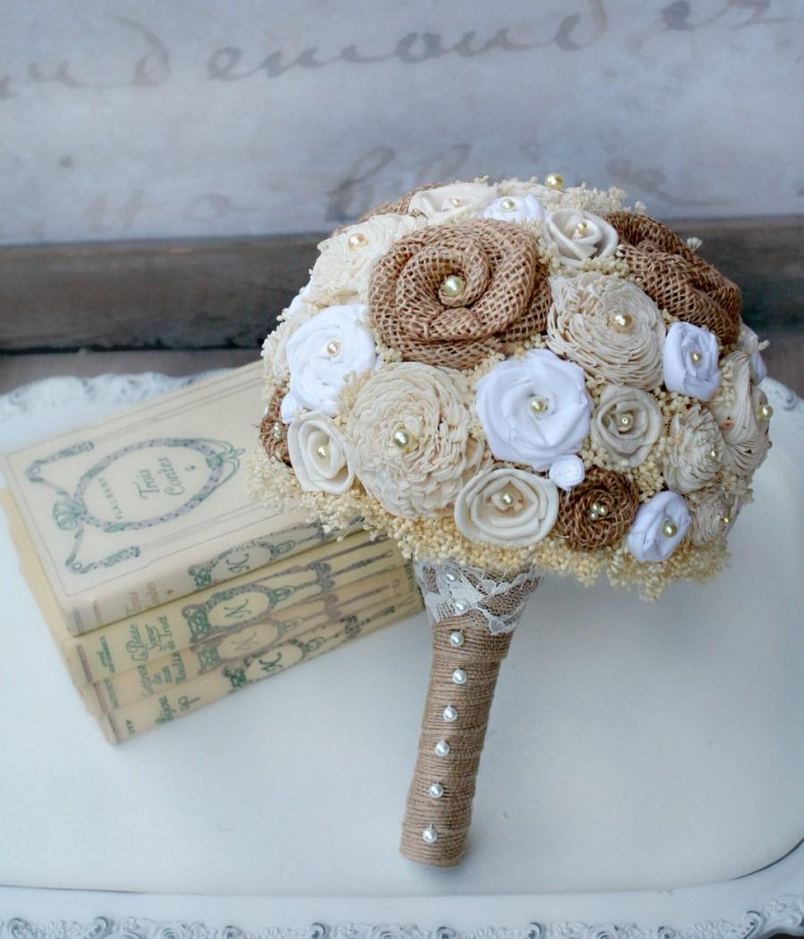 Cream, White, & Natural Burlap Bride\'s Bouquet - Sola Wood Flowers ...