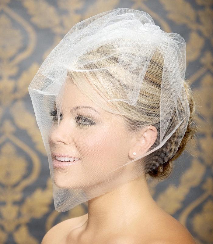"""زفاف - Birdcabe Veil, Bridal Veil, Wedding Veil, Blusher Veil, Bird Cage Wedding Veil, White, Ivory Tulle Bird Cage Veil, 12"""" or 18"""" long, voilette"""