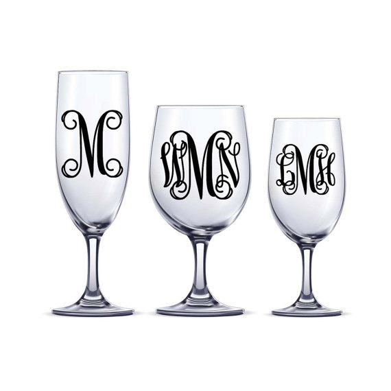 Hochzeit - DIY Vine Monogram Decal one or three initial sticker Wine Glass Decal Bridesmaid Gifts Wine Glass