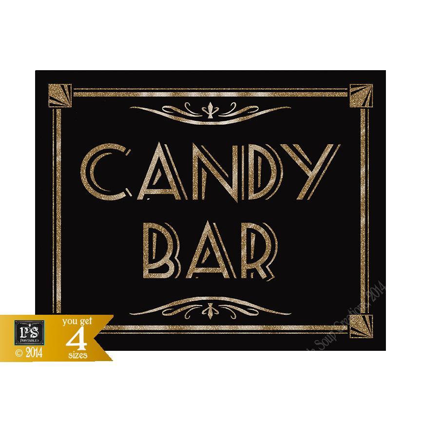زفاف - CANDY BAR - Printable - Art Deco-Roaring 20's Great Gatsby Sign -  instant download - DIY-black and gold wedding
