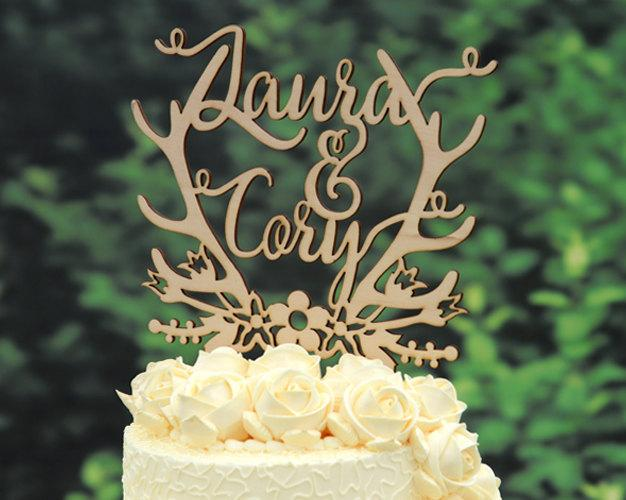 Hochzeit - Personalized Last Name Wedding Cake Topper, Custom Linden Wood Mr and Mrs Cake Topper, Personalized with YOUR Last Name #107