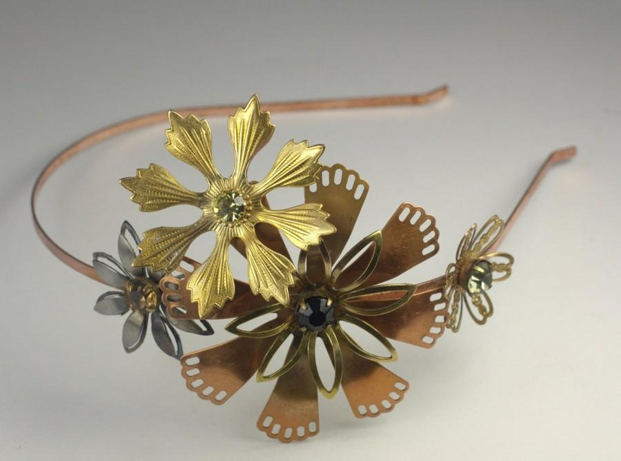Hochzeit - Vintage flower headband brass copper rhinestone boho romantic bridal Autumn wedding hair head piece