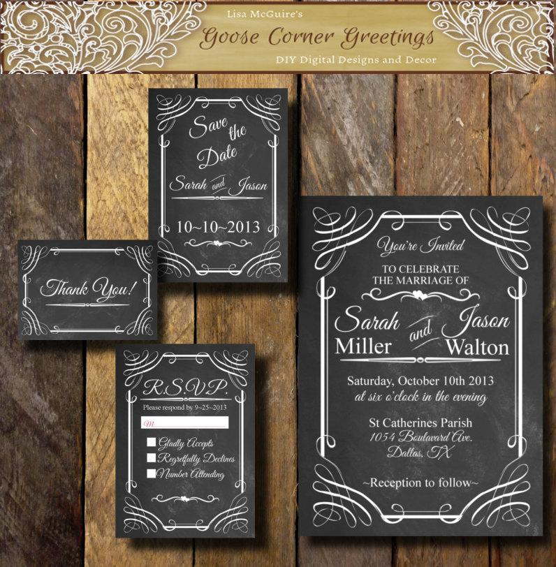 Wedding - Chalkboard Wedding Invitation Suite Any Color Digital file Rustic Old West Country