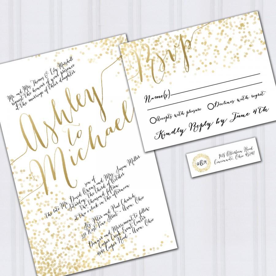 Gold Foil Look Wedding Invitations, Confetti Invites, Metallic Look ...