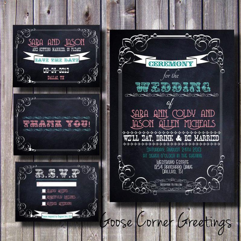 Diy Chalkboard Wedding Invitations: DIY Printable Wedding Invitation Suite- Chalkboard-Western