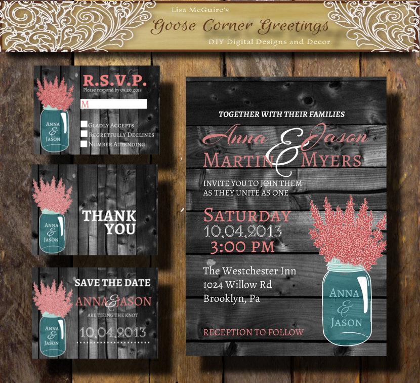 Wedding - Mason Jar Wedding Invitation Suite Printable Digital File Pink-Grey Rustic Wood