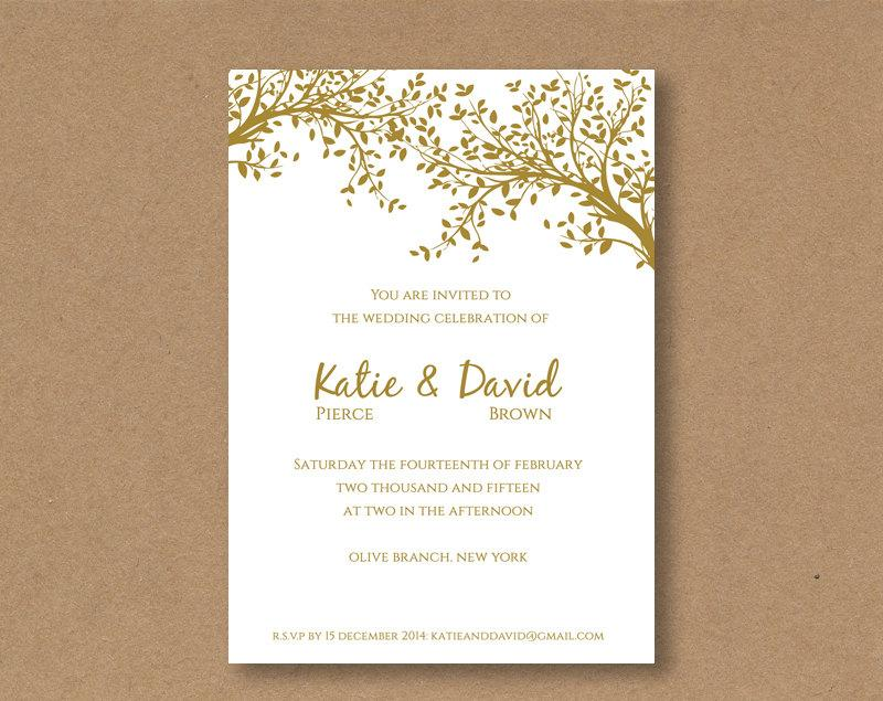 Wedding - DIY editable and printable Wedding Invitation Template Gold Leaves
