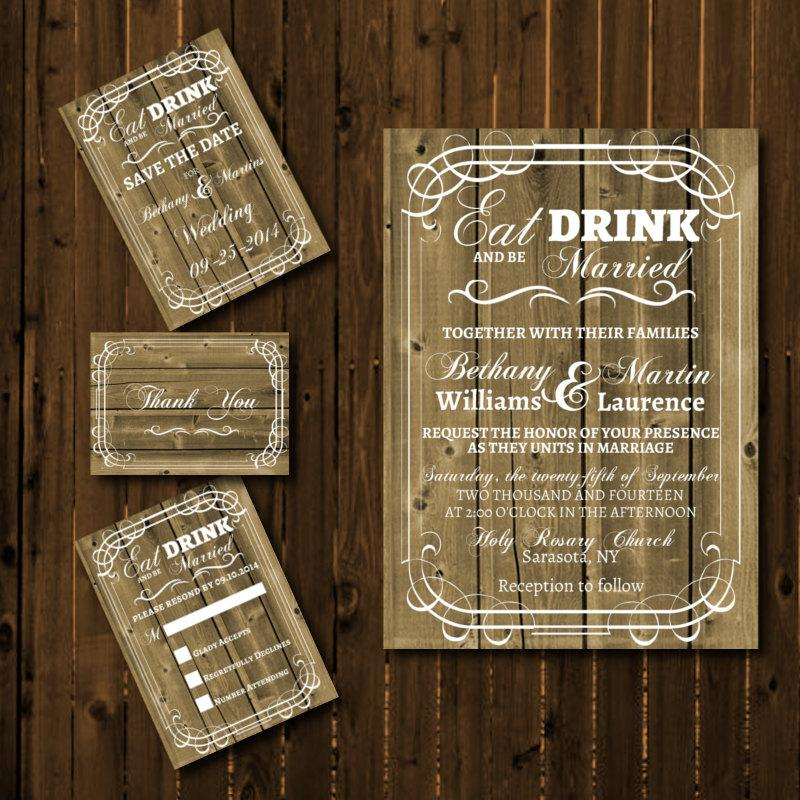 Printable Rustic Wedding Invitation Suite  Eat Drink And Be Married DIY Wood  Invitation Western