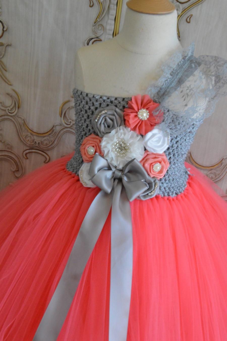 Свадьба - Coral Grey and White flower girl tutu dress
