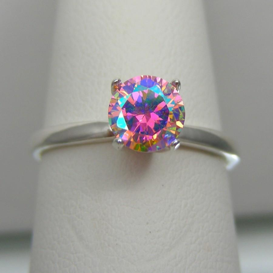 popular engagement woman fire youth princess topaz opal white mystic rainbow cut trendy vintage rings