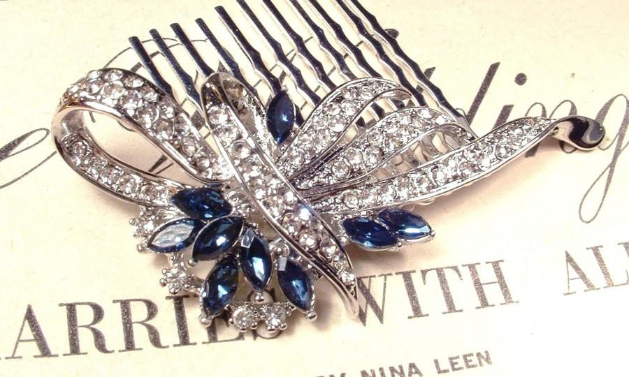 Hochzeit - Something Blue Wedding Hair Comb, Sapphire & Clear Rhinestone Bridal Great Gatsby Art Deco Silver Brooch 1920s Accessory Navy Blue Headpiece