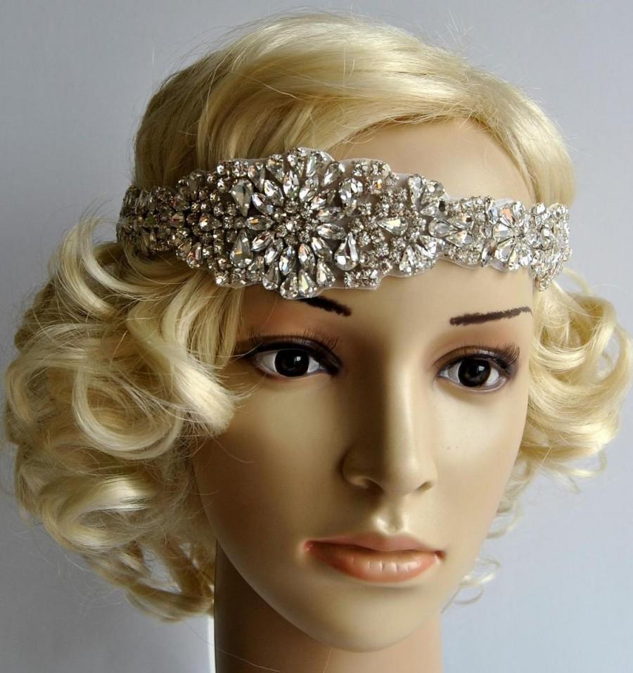 Wedding - Glamour Luxury Rhinestone flapper Gatsby Headband, Wedding Headband, Crystal Headband Bridal Headpiece, 1920s Flapper headband