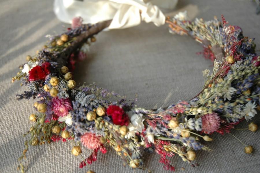 Hochzeit - Bridal Flower Crown Dried Lavender and Dried Flowers for Brides, Bridesmaids, Flowergirls