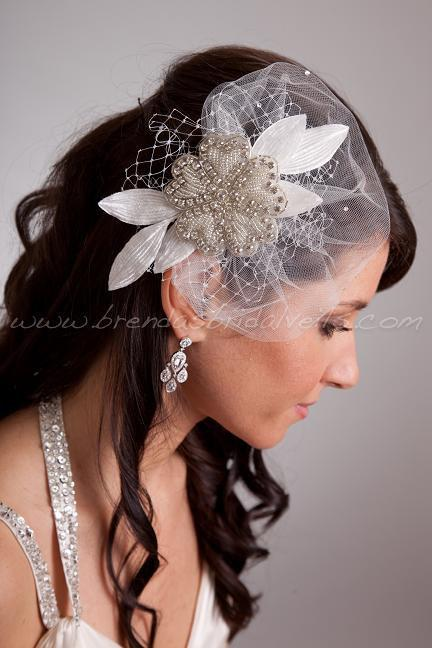 Crystal Rhinestone Beaded Flower Bridal Hair Piece With Vintage Custom Pouf Hair Piece